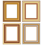 Four wooden carved frames  on white Stock Photography