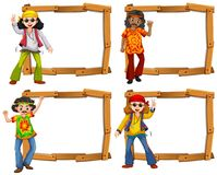 Four wooden frame with men in the sixties. Illustration Royalty Free Stock Images