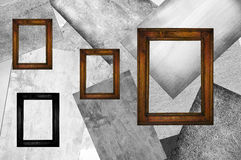 Four wooden frames Royalty Free Stock Images