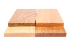 Four wooden plank close-up. Are located on the white background Stock Photo