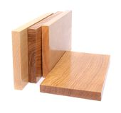 Four wooden plank close-up. Are located on the white background Royalty Free Stock Photography