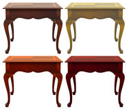 Four wooden tables. On a white background Royalty Free Stock Images