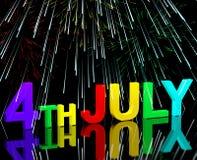 Four Word en het Vuurwerk van Juli als Symbool voor Amerika en Patriot Royalty-vrije Stock Fotografie