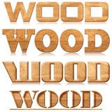 Four words wood in wood carving. Four words wood with reflection in wood material Stock Image