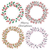Four wreath of holly Christmas greeting greeting card Stock Images