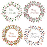Four wreath of holly Christmas greeting greeting card Royalty Free Stock Photos