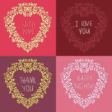 Four wreath in the shape of the heart with text. Can be used as a greeting card on a Valentine`s day , invitation,background or any other design Stock Photo