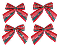 Four xmas bow on white background Stock Image