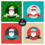 Four xmas cards with hipster santa Royalty Free Stock Image