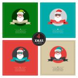 Four xmas cards with hipster santa .place for your text Royalty Free Stock Images