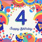 Four 4 year birthday party greeting card number Royalty Free Stock Images