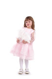 Four-year girl in a beautiful pink dress Royalty Free Stock Images