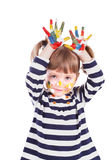Four-year girl with hands soiled in a paint. Royalty Free Stock Photography