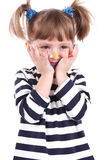 Four-year girl with hands soiled in a paint. Royalty Free Stock Photos