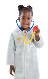 Four Year Old Little African American Girl Wearing  Doctor Outfi Stock Image
