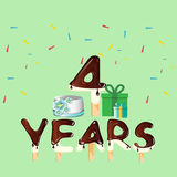 Four years anniversary celebration card. Vector illustration Stock Image