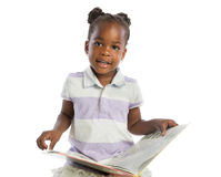 Four Years Old African American Girl Reading Book Isolated Royalty Free Stock Photos