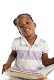 Four Years Old African American Girl Reading Book Isolated Stock Photo