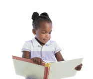 Four Years Old African American Girl Reading Book Isolated Royalty Free Stock Image