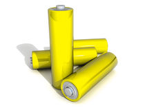 Four Yellow AA Battery on white Backgound Royalty Free Stock Photography