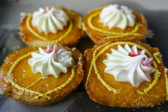 Four yellow cakes. Four pieces of yellow cakes Royalty Free Stock Photos