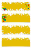 Four yellow christmas headers Stock Images