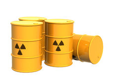 Four yellow tanks with a radioactive symbol Royalty Free Stock Photography