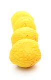 Four yellow wrinkled quinces on white background Royalty Free Stock Photo
