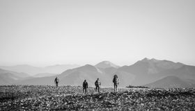 Four young athletic people walking on the rocky mountain plato stock images