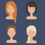 Four young beautiful women/girls portraits. With diversity of hair styles and hair cuts. Vector art Royalty Free Stock Image