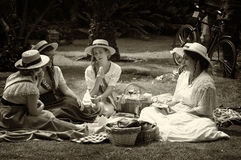 Four young `Belle Epoque` ladies. Royalty Free Stock Photos