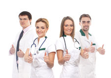 Four young Caucasian medical workers together Royalty Free Stock Image