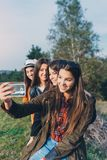 Group of four young women outdoors royalty free stock photos
