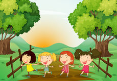 Four young ladies playing outdoor Stock Images