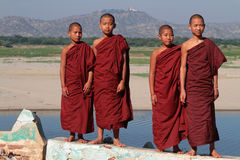 Four Young Monks Royalty Free Stock Photo