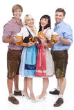 Four Young people with beer glass and bretzel Stock Images