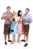 Four Young people with beer glass and bretzel Stock Image