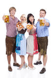 Four Young people with beer glass and bretzel Stock Photography