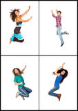 Four young people jumping stock photography