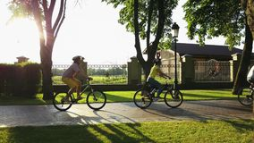 Four young persons cycling in public park. Group of young people riding bicycles along a road and looking happy. Enjoying summer day together stock video footage