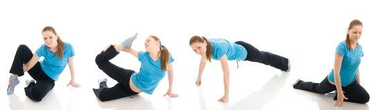 The four young womans doing yoga exercise isolated Stock Photos