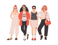 Four young women or girls dressed in trendy clothes standing together. Group of friends or feminist activists. Female. Cartoon characters isolated on white Stock Photos