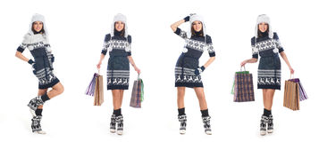 Four young women in Scandinavian winter clothes Stock Images