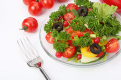 Fourchette avec de la salade fraîche Image libre de droits