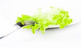 Fourchette avec de la salade verte Image libre de droits