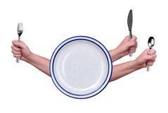 Fourchette, couteau, cuillère et plaque Photos stock