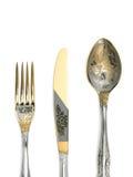 Fourchette, couteau et cuillère Image stock