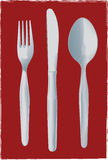 Fourchette, couteau et cuillère Photographie stock