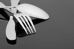 Fourchette, couteau et cuillère images stock