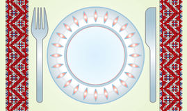 Fourchette-couteau-paraboloïde-table-tissu Images libres de droits